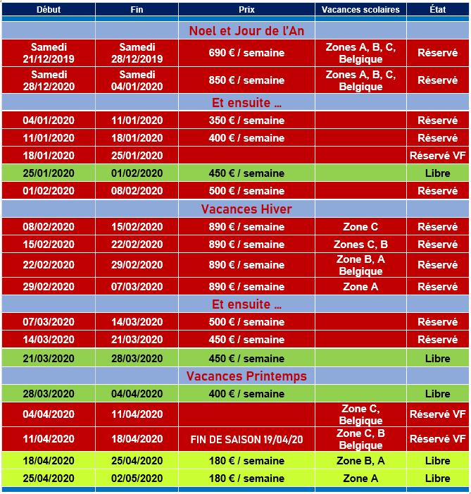 Planning Réservation Valmorel hiver 2019-2020