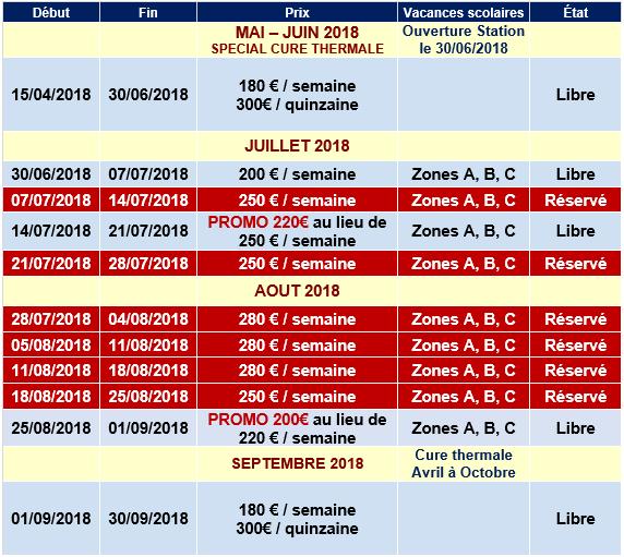 Planning Reservation Valmorel ETE 2018